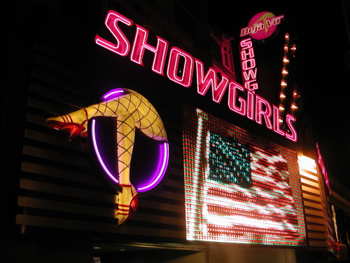 Deja Vu Showgirls with American flag LED sign