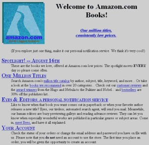 an early amazon home page, via onemonthrails.com